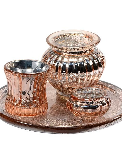 Votive Candle Holder Copper Set 4 Piece Set
