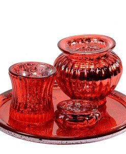 Votive Candle Holder Red Set 4 Piece Set