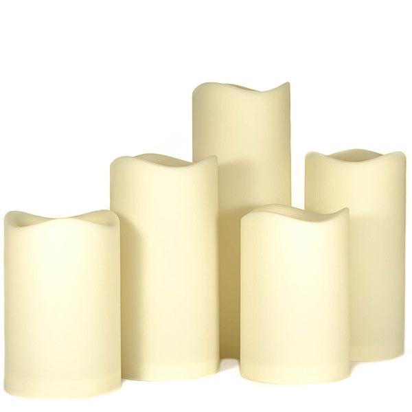 Outdoor Led Pillar Candles 5 Piece Set Online Bulk Flameless