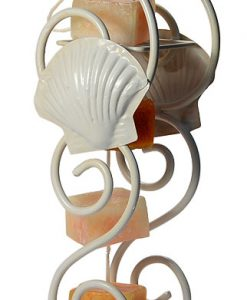 Candle on Rope Clam Shell Holder White