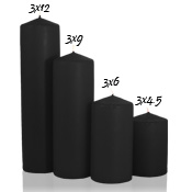 3 x 12 Black Pillar Candles Unscented