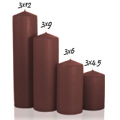 3 x 12 Brown Pillar Candles Unscented