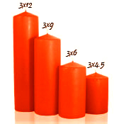3 x 12 Burnt Orange Pillar Candles Unscented