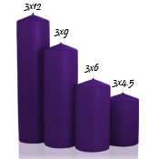 3 x 12 Lilac Pillar Candles Unscented