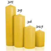3 x 12 Harvest Pillar Candles Unscented