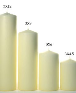 3 x 12 Ivory Pillar Candles Unscented