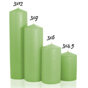 3 x 9 Mint Green Pillar Candles Unscented