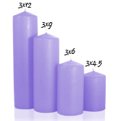 3 x 12 Orchid Pillar Candles Unscented