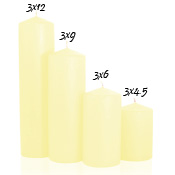 3 x 12 Pale Yellow Pillar Candles Unscented