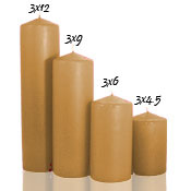3 x 12 Parchment Pillar Candles Unscented