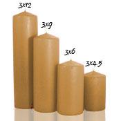 3 x 9 Parchment Pillar Candles Unscented