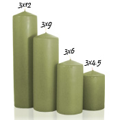 3 x 9 Sage Pillar Candles Unscented