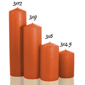 3 x 9 Terracotta Pillar Candles Unscented