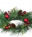 Pine and Mixed Ornaments Candle Rings 6.5 Inch