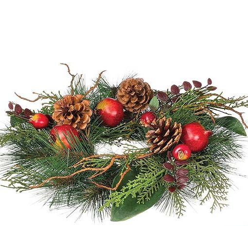 Pine and Pomegranate Candle Rings 4.5 Inch