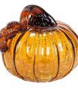 Crackled Glass Amber Pumpkin 6 Inch
