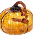 Crackled Glass Amber Pumpkin 7 Inch
