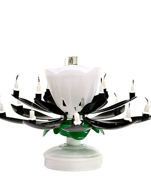 Musical Flower Birthday Candles Black