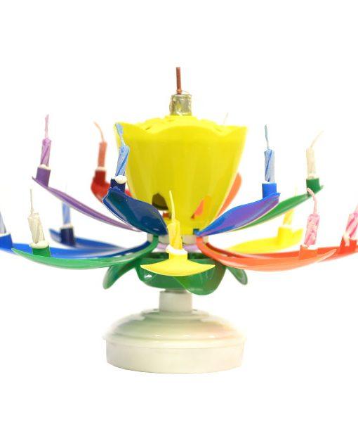 Musical Flower Birthday Candles Rainbow Yellow Bud