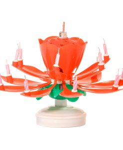 Musical Flower Birthday Candles Red