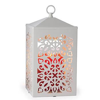 Lantern Candle Warmer Scroll White