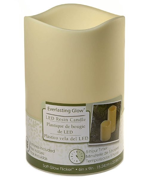 LED 6×9 Outdoor Pillar Candle Ivory