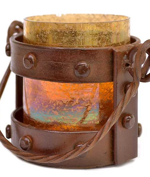 Mission Style Votive Lantern Amber