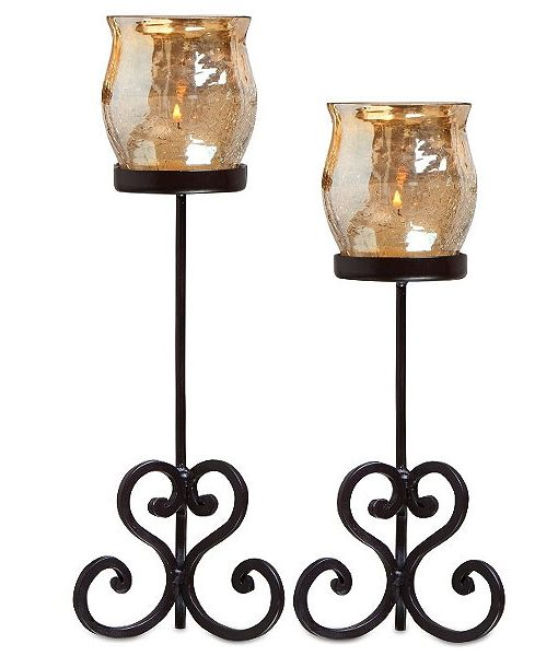 Set of 2 Brandy Votive Holders Champagne