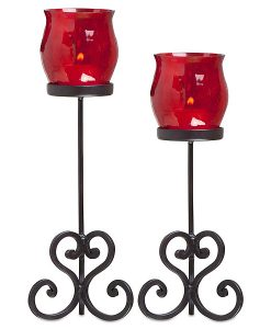 Set of 2 Brandy Votive Holders Red