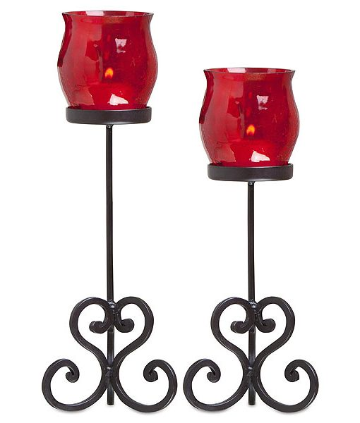 Set of 2 Brandy Votive Holders Red