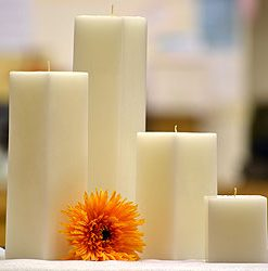 12 Inch White Square Candles