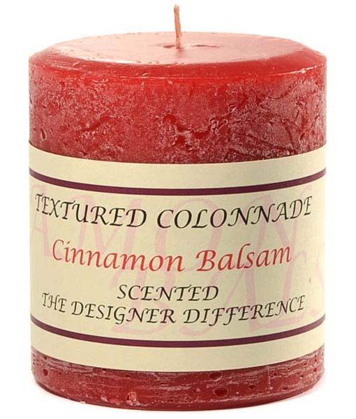 Textured 3 x 3 Cinnamon Balsam Pillar Candles