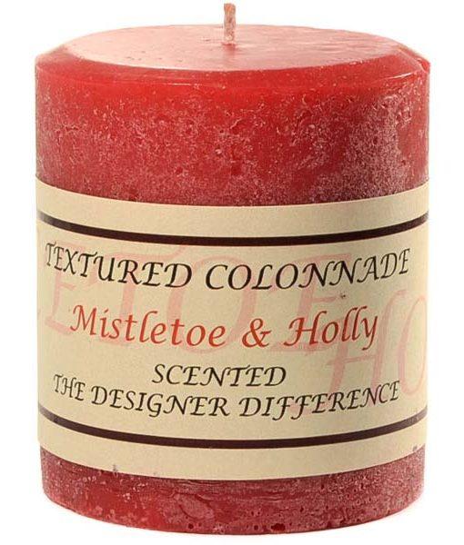 Textured 3 x 3 Mistletoe and Holly Pillar Candles