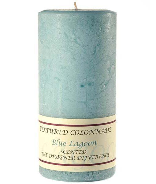 Textured 4 x 9 Blue Lagoon Pillar Candles