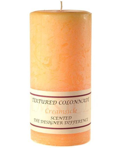 Textured 3 x 6 Creamsicle Pillar Candles