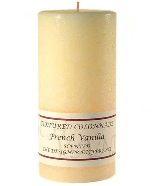 Textured 4 x 9 French Vanilla Pillar Candles
