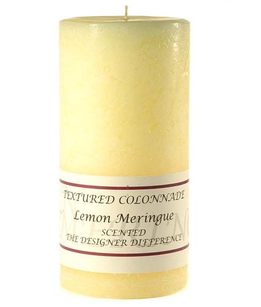 Textured 4 x 9 Lemon Meringue Pillar Candles