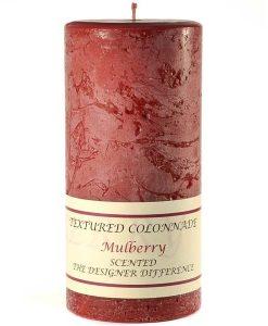 Textured 4 x 9 Mulberry Pillar Candles