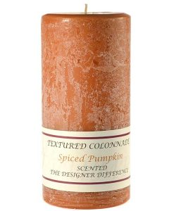 Textured 4 x 9 Spiced Pumpkin Pillar Candles
