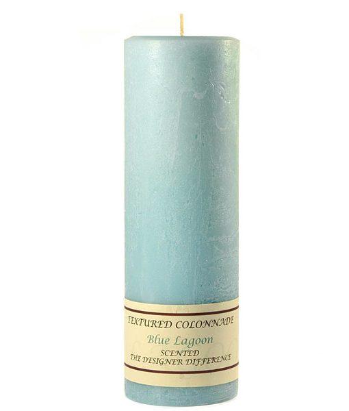 Textured 3 x 9 Blue Lagoon Pillar Candles