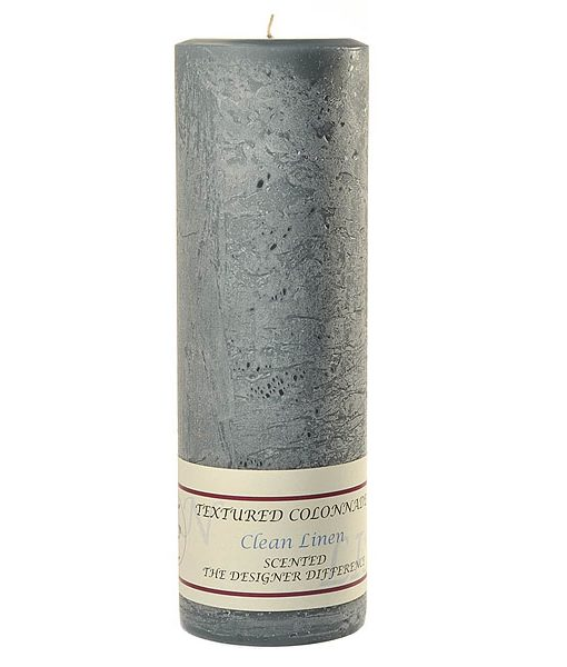 Textured 3 x 9 Clean Linen Pillar Candles
