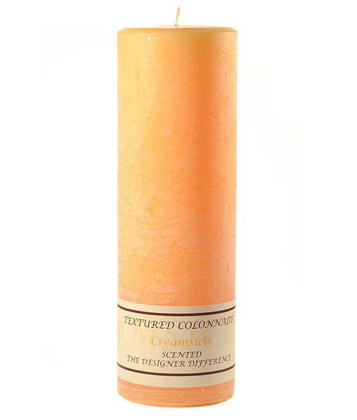 Textured 3 x 9 Creamsicle Pillar Candles