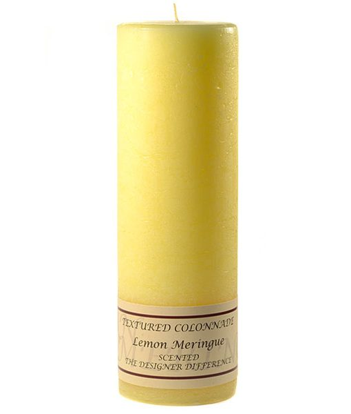 Textured 3 x 9 Lemon Meringue Pillar Candles