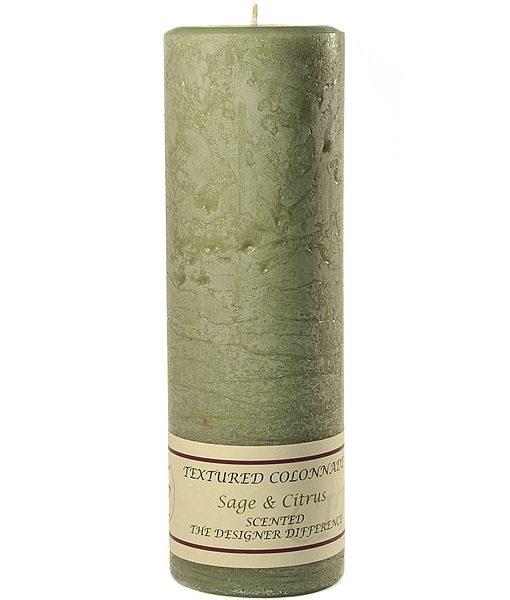 Textured 3 x 9 Sage and Citrus Pillar Candles
