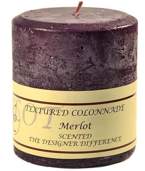 Textured 4 x 4 Merlot Pillar Candles