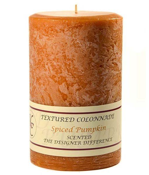 Textured 4 x 6 Spiced Pumpkin Pillar Candles