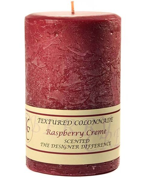 Textured 4 x 6 Raspberry Cream Pillar Candles