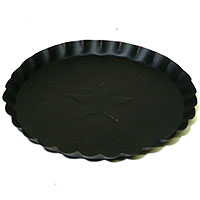 Scalloped Edge Tin Plates Black 7 Inch