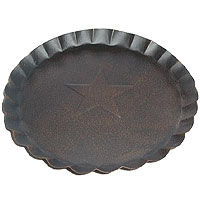 Scalloped Edge Tin Plates Gray 7 Inch